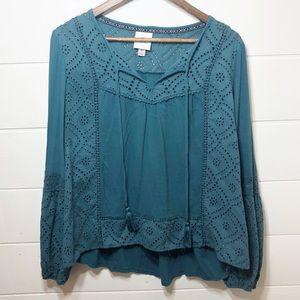 Knox Rose Boho StyLe Turquoise Blouse